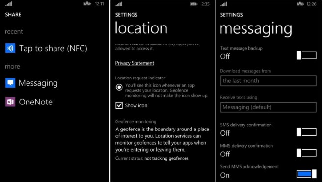 WP8.1 settings
