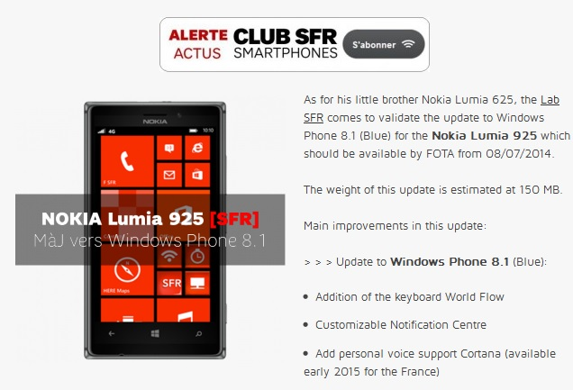Windows Phone 8.1 france