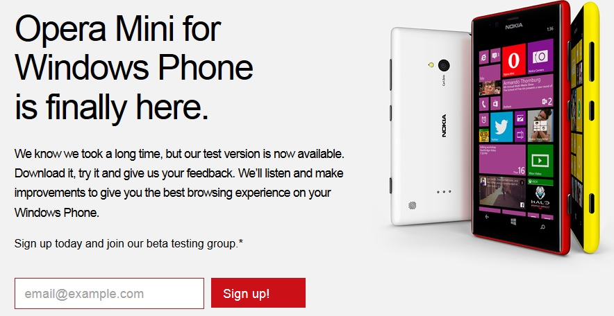 Opera Mini for Windows Phone coming soon  Sign up for Beta
