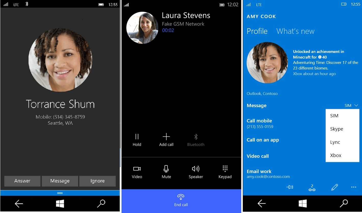 Skype integrado en Windows 10