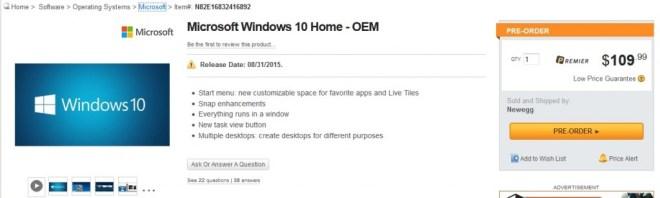 Windows 10 price & release date
