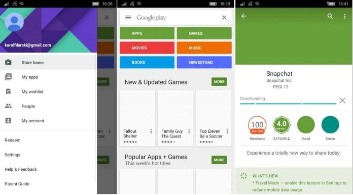Google Play Windows 10 Mobile