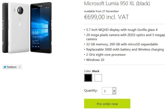 Lumia 950 XL pre-order