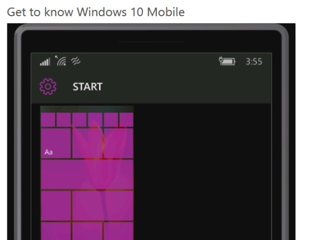 Windows 10 Mobile get started