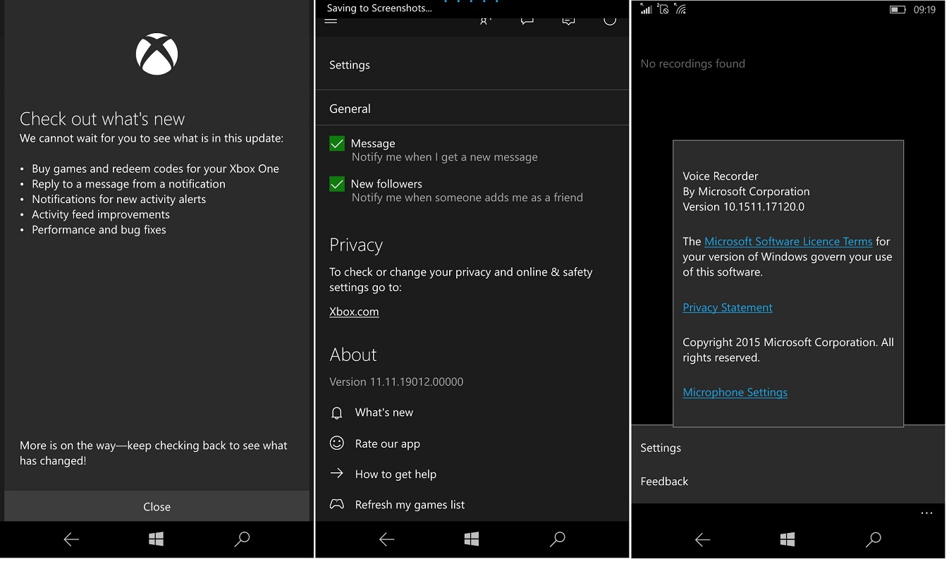 Windows 10 Mobile Xbox & Voice Recorder see updates ...