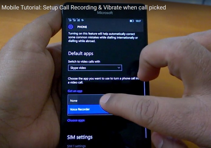 Windows 10 Mobile Call recording