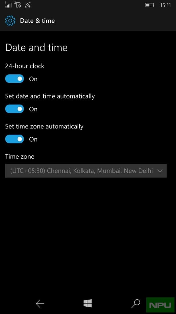 Date & Time Windows 10 Mobile