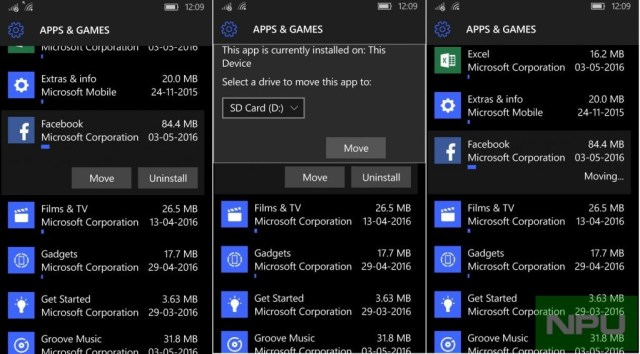 Windows 10 Mobile Apps SD card move