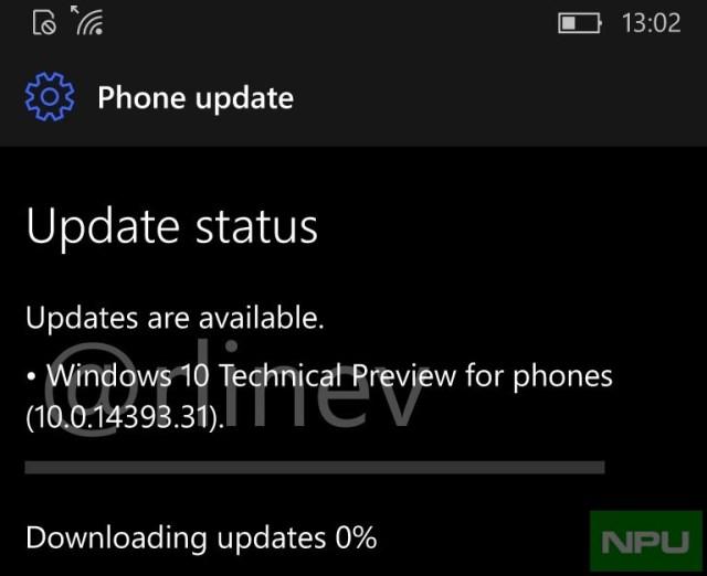 Windows 10 Mobile Anniversary update Build 14393.31