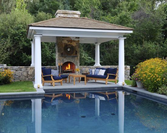 Elegant Pool With Pergola Hearth And Landscape (New York)
