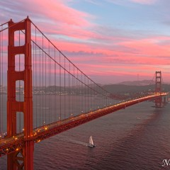 Golden Gate Bridge sunset and traffic trails (HDR) (454F39854-HDR)