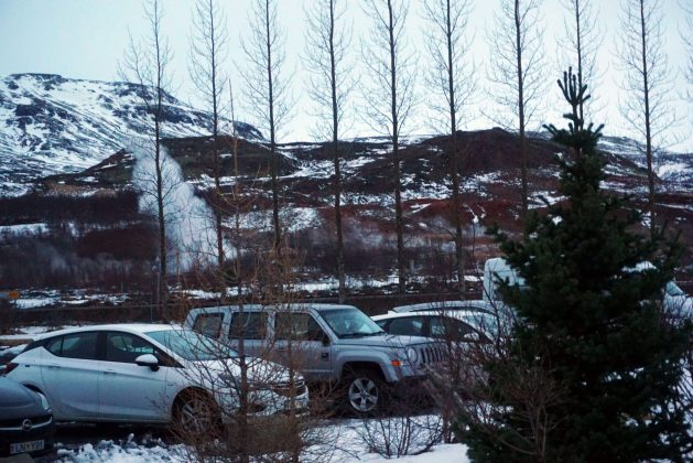 View of geysers from the Litli Geysir Hotel in Iceland