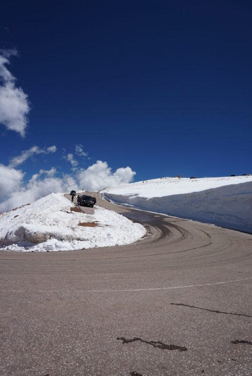 Snowbanks while driving Pikes Peak