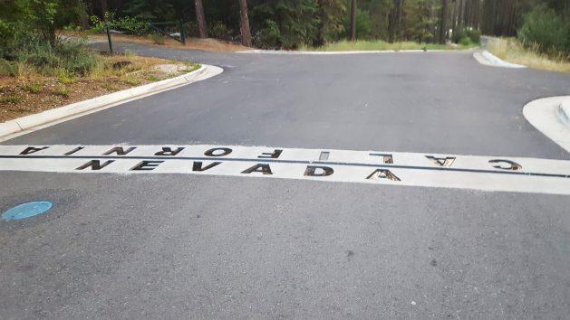 State line marker in Van Sickle Bi-State Park