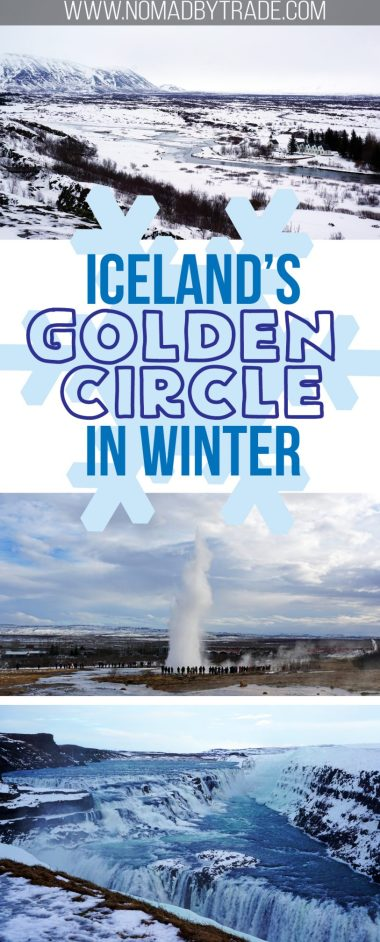 Photo collage of Iceland's Golden Circle attractions with text overlay
