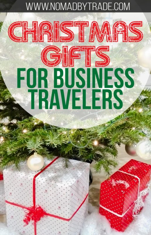 "Tree with presents with text overlay reading ""Christmas gifts for business travelers"""