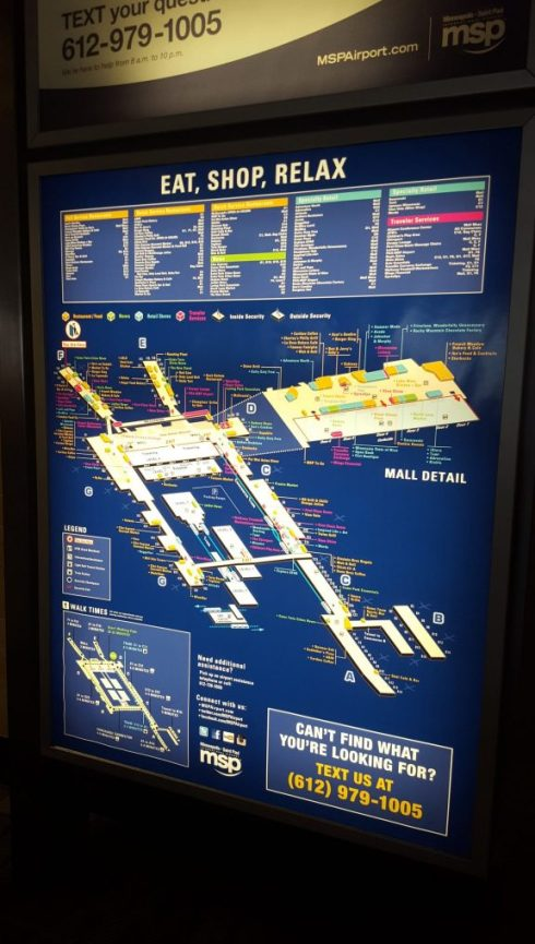 Map board at the Minneapolis airport
