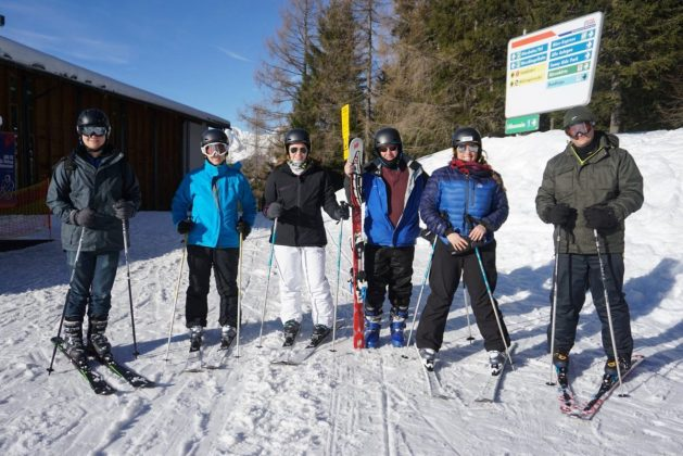 Skiers at Hinterstoder - skiing in Austria