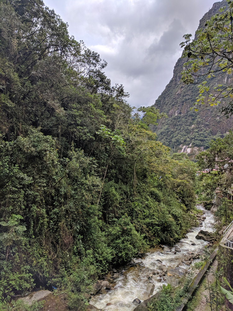 Rio Aguas Calientes flowing between mountains