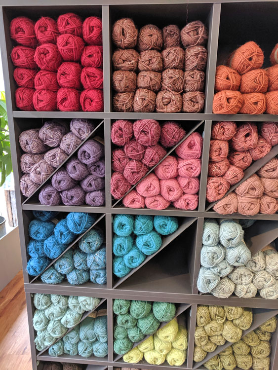 Colorful display of yarn in a shop in Alesund, Norway.