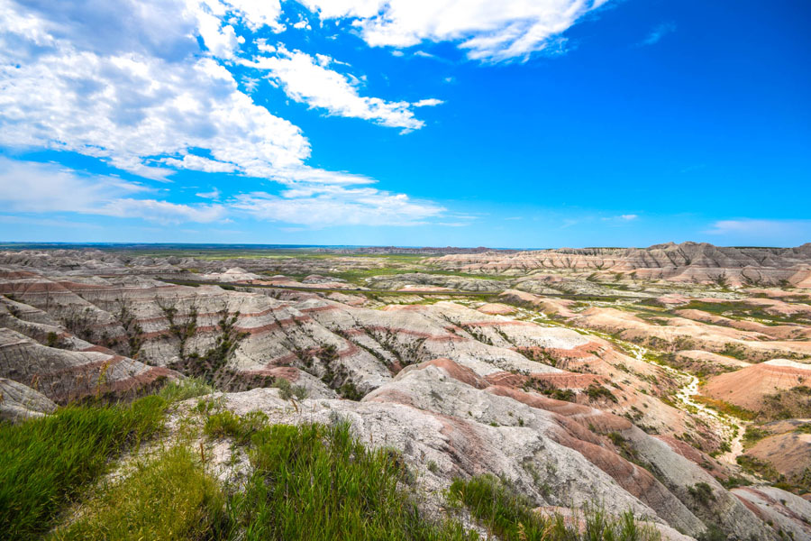 Rocky landscape in Badlands National Park