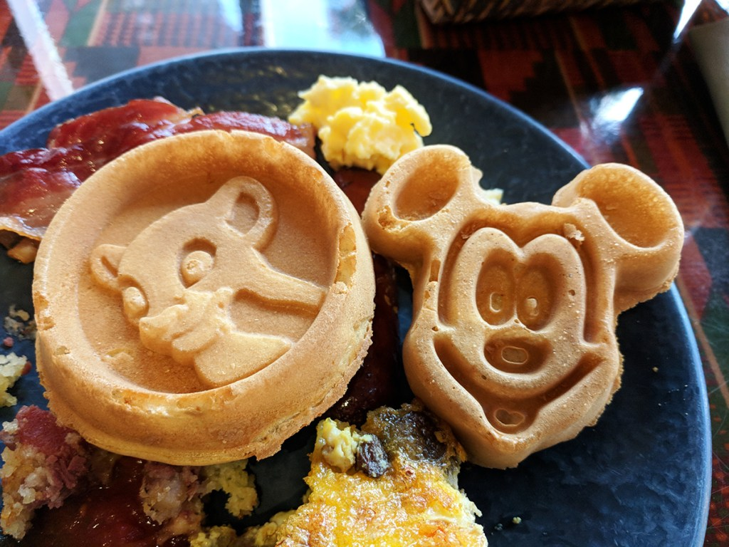 Mickey waffles at Boma at the Animal Kingdom Lodge dining room