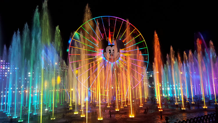 World of Color fountains at Disney California Adventure Park