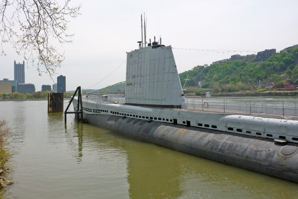 Submarine docked in PIttsburgh at the Carnegie Science Center