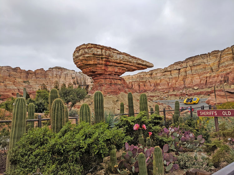 Rock formations and cars at the California Adventure Cars ride