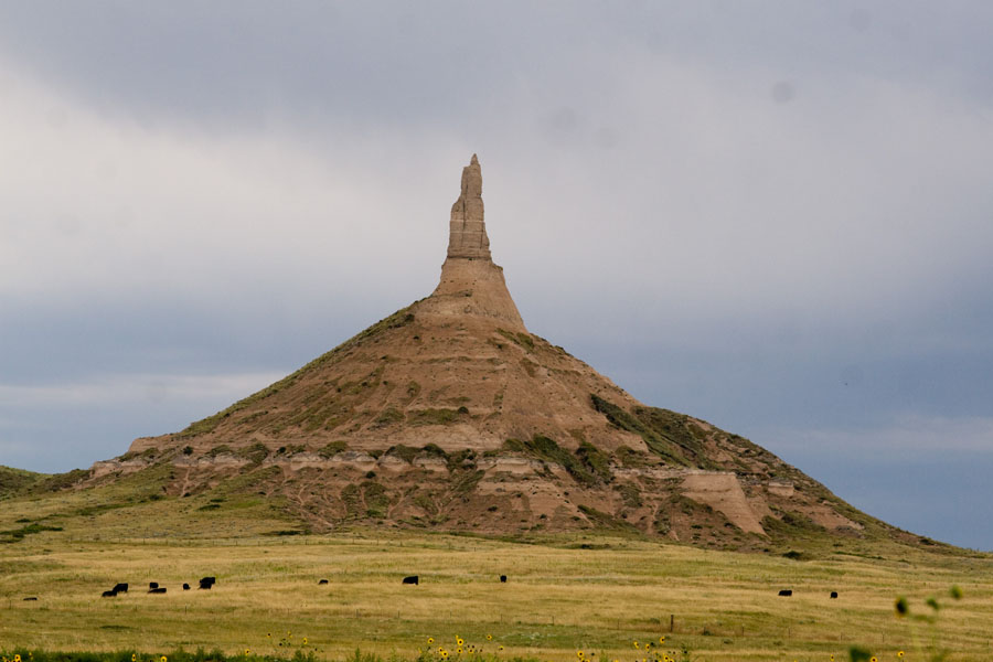 Chimney Rock, a tall spire rising above the plains in Nebraska
