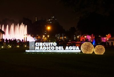 Sign for the Circuito Magico del Agua at the Parque de las Aguas in Lima