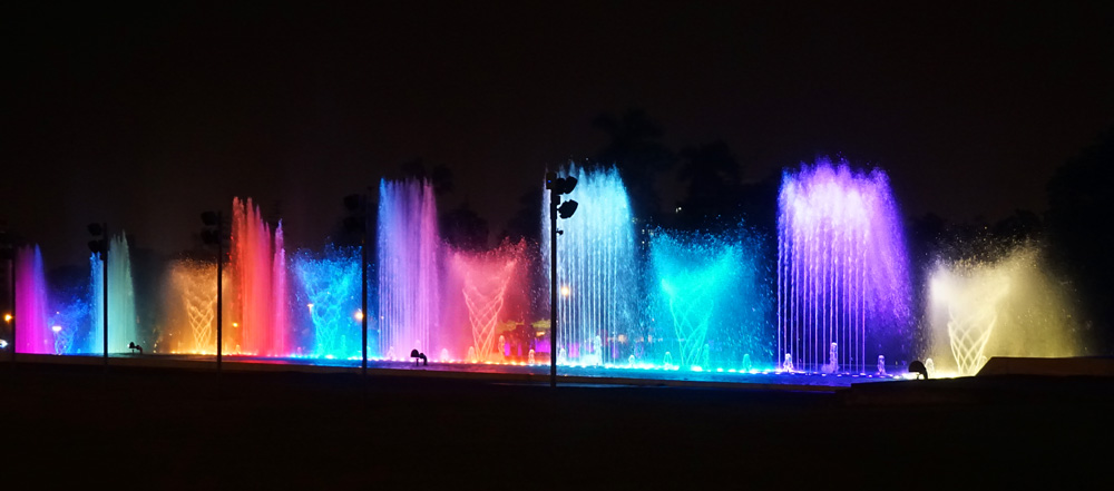 Dancing fountains at the Magic Water show in Lima