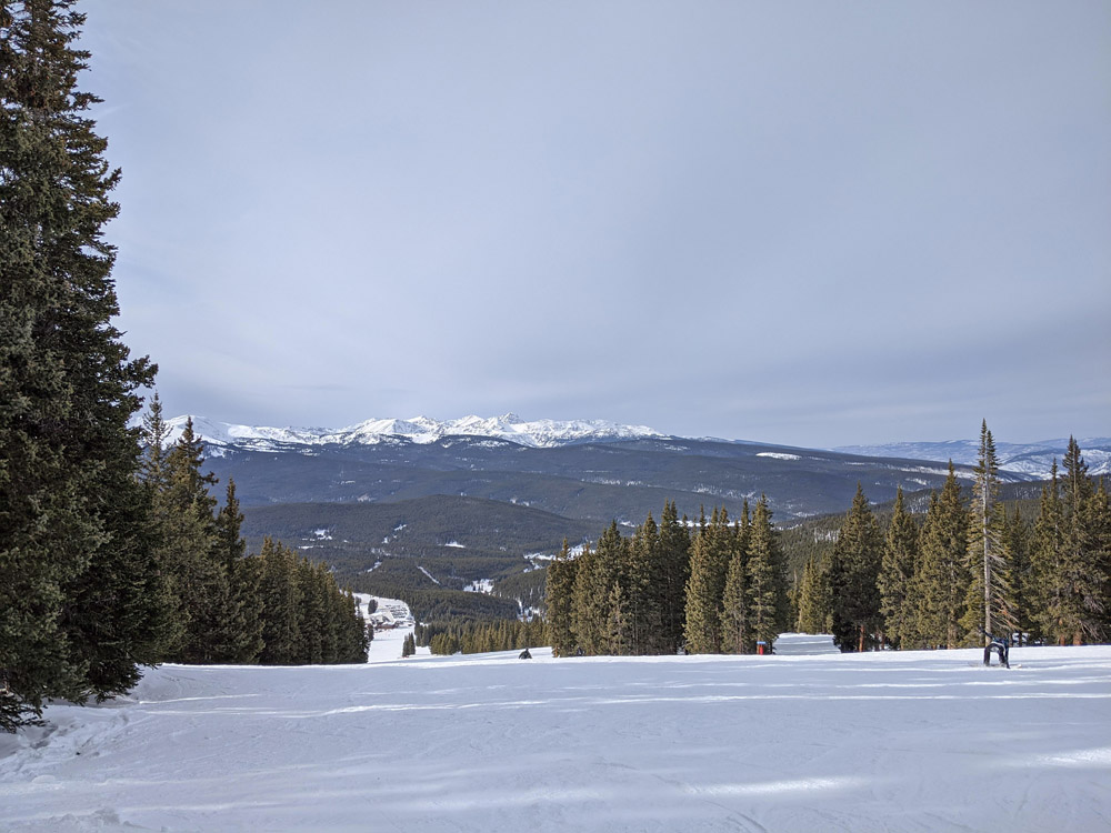 View of mountains and trees at Cooper Mountain ski resort