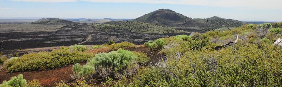 Panorama of rolling hills in Craters of the Moon National Park