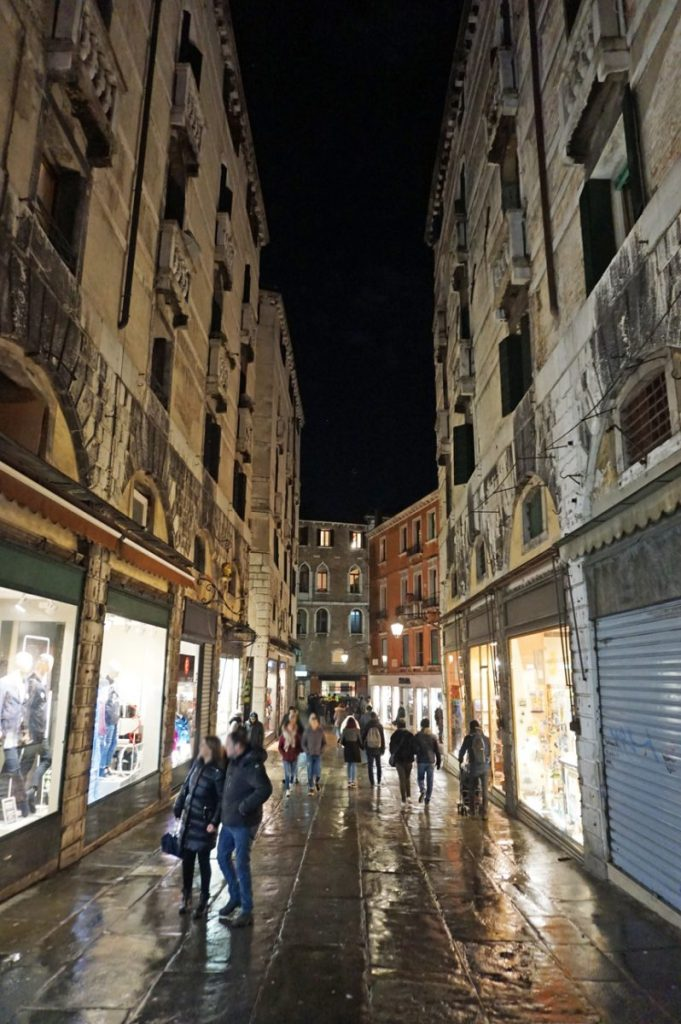 Streets in Venice by night