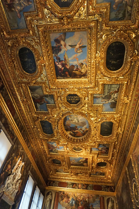 Gilded ceilings in the Doge's Palace in Venice