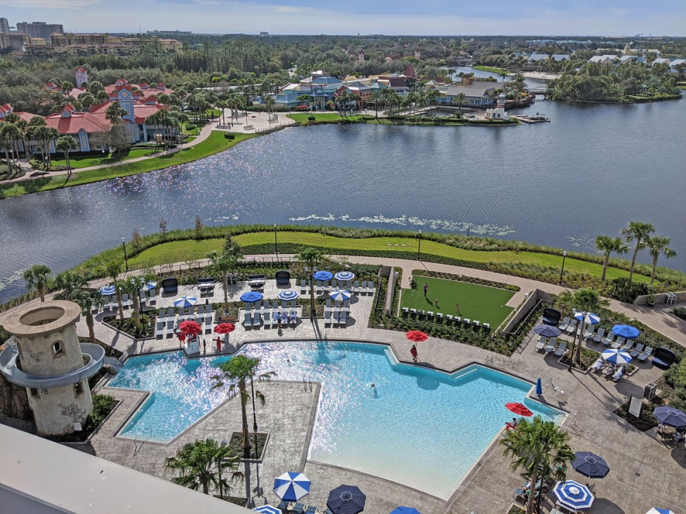 Riviera Resort pool and waterslide from Topolino's Terrace viewing deck