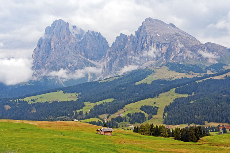 Jagged peaks of the Dolomite Mountains