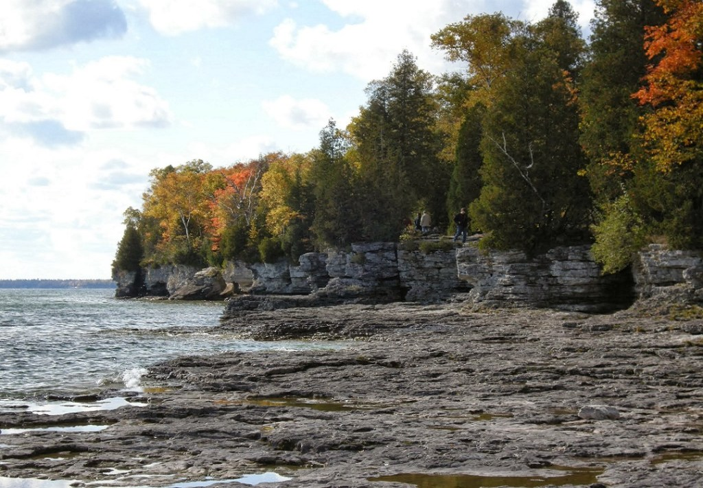 Lakeshore with fall foliage in Door County
