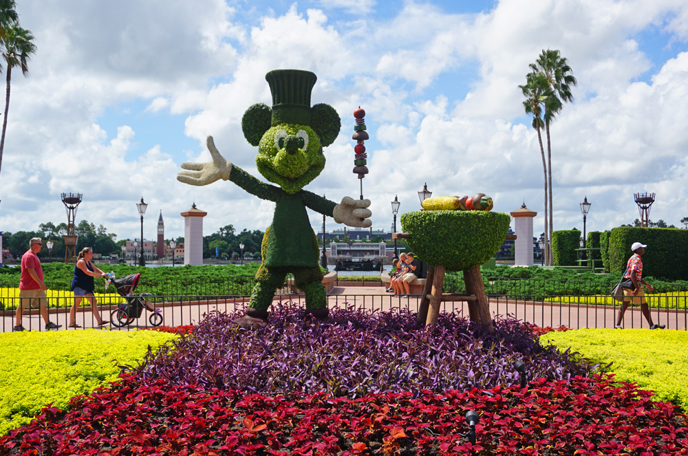 Mickey Mouse with a BBQ grill topiary at the Epcot Food and Wine Festival