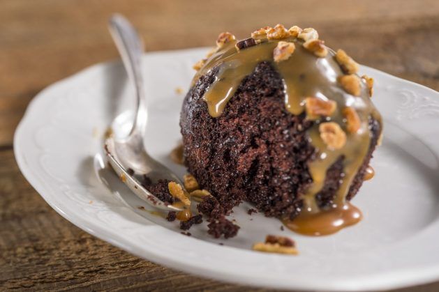 Chocolate cake with salted caramel bourbon sauce at the Epcot Flower and Garden Festival 2018