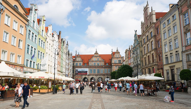 Old town Gdansk surrounded by historic buildings