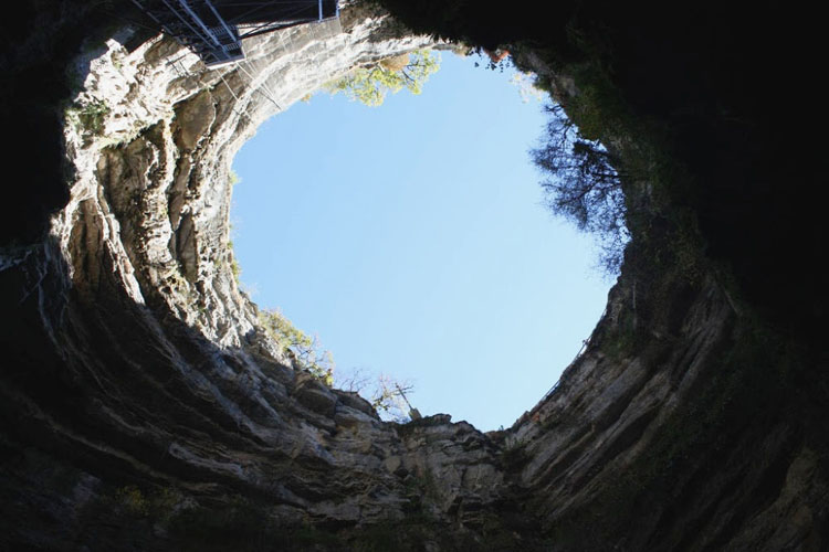 View of the sky from the caves at Gouffre de Padirac in France