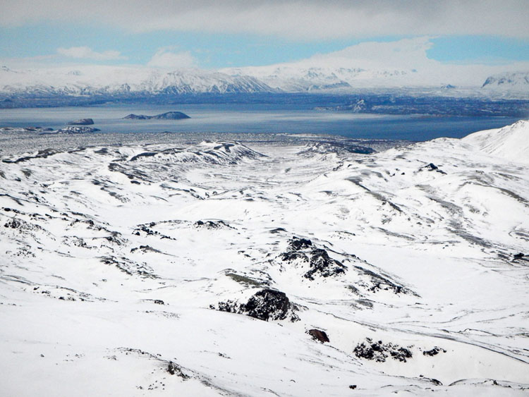 Aerial view of snowy landscapes on a helicopter tour of Iceland
