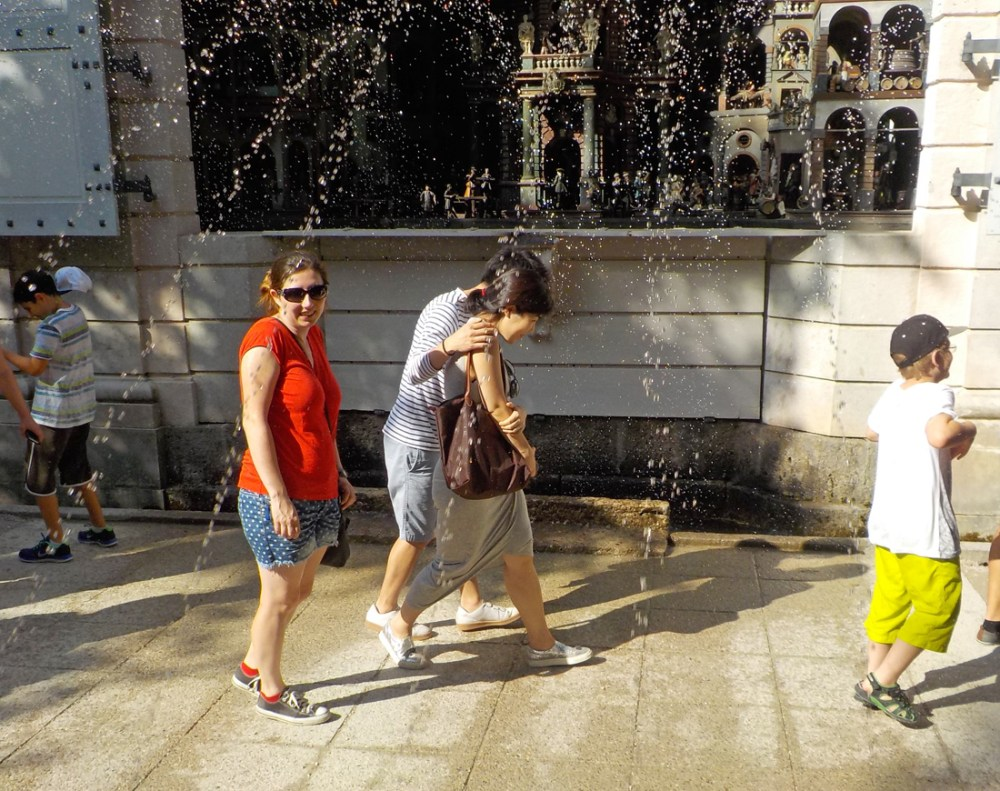 Hellbrunn Palace trick fountains wooden theater spraying guests