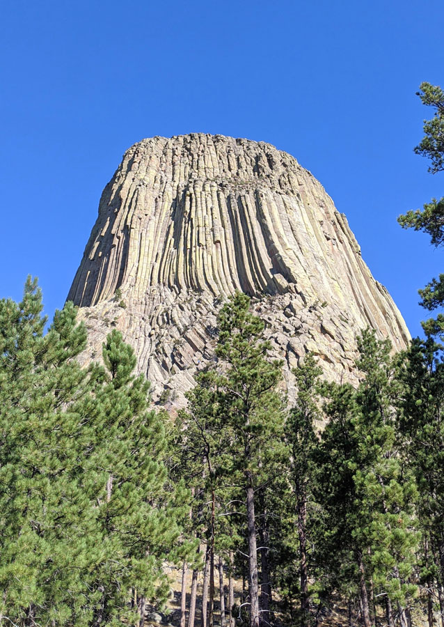Devils Tower standing out above trees in this guide to the first national monument