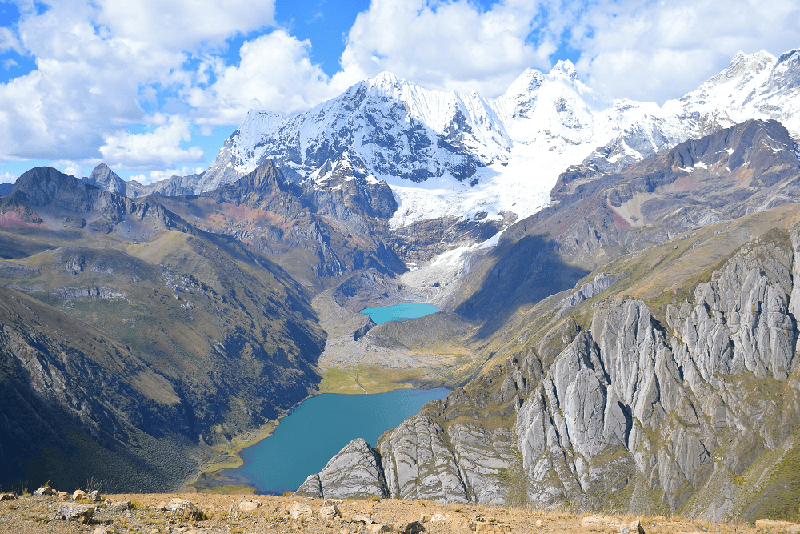 Photo of mountain lakes in the Andes on the Huahuash Trek