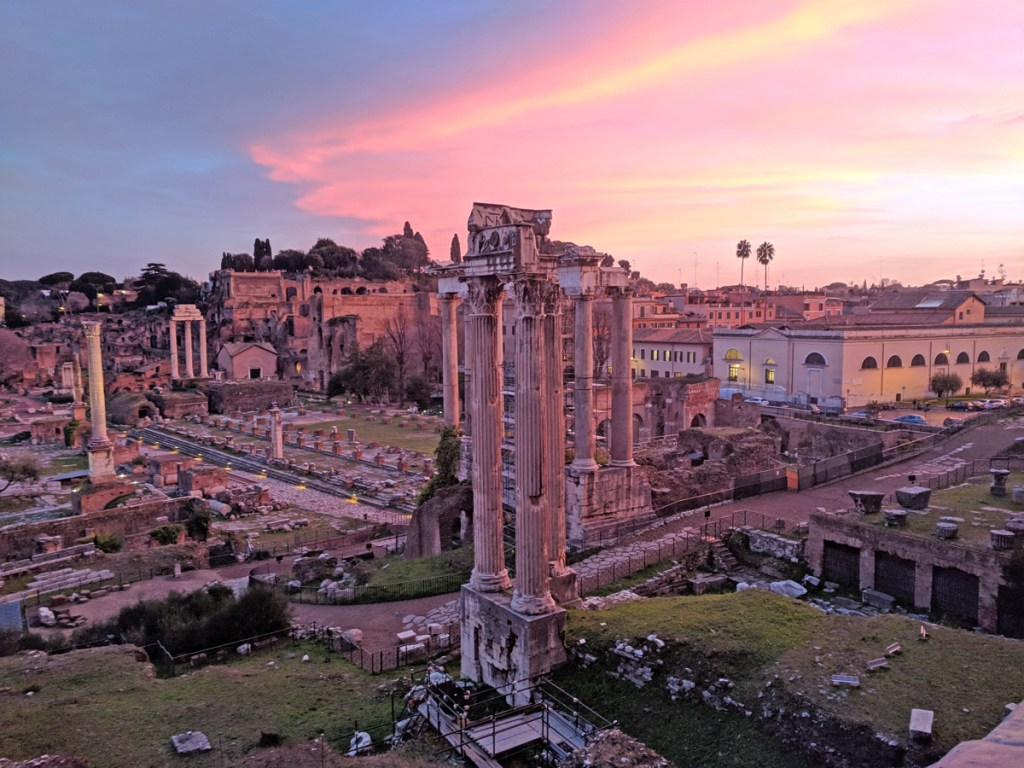 Sunset over the Roman Forum - two days in Rome