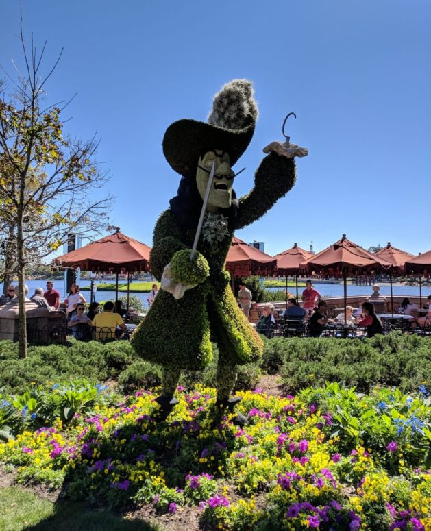 Captain Hook topiary with Peter Pan at the Epcot Flower and Garden Festival