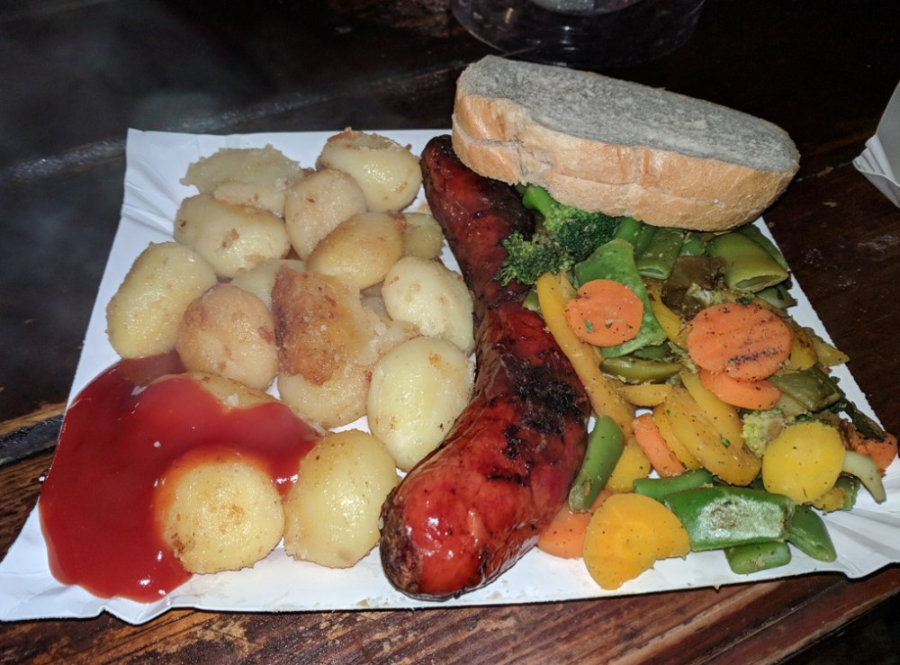 Grilled sausage and vegetables from the Krakow Christmas Market